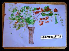 Manualidades con niños: árbol con bastoncillos para los oídos. Plastic Cutting Board, Polka Dots, Activities For Kids, Crafts For Kids, How To Make