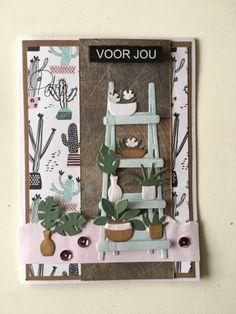 card plant flower pot flowerpots, potted plants, ladder, garden, greens, greenery, Marianne design craftables - Marleen´s Greenery, Marleen´s shelves    Petra's Fröbelhoekje: Voor jou....