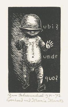 Gerhard Marcks- Neujahrsgruß 1972 (Kind und Text)
