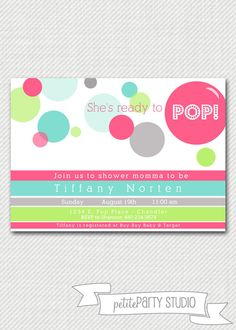PARTY PRINTABLE  Ready to Pop Baby Shower  by PetitePartyStudio, $15.00