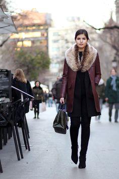 zara burgundy faux leather coat, fur stole scarf, skinny jeans, booties