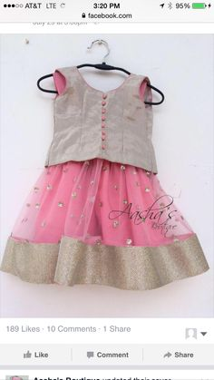 Pinterest :@achyi Baby Girl Dress Patterns, Little Girl Dresses, Girls Dresses, Baby Dresses, Kids Indian Wear, Kids Ethnic Wear, Baby Lehenga, Kids Lehenga, Little Girl Fashion