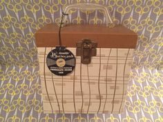 Vintage 1960s brown stripe box lined record storage box 45 Platter Pak lp vinyl carrier case tote