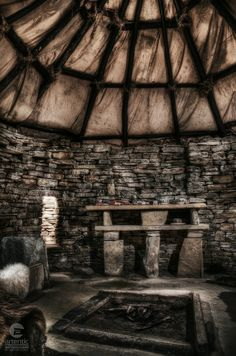 A reconstructed interior of one of the Neolithic houses at Skara Brae in northern Scotland. The settlement is located on the largest of the Orkney Islands and dates back to 3180 BC. Orkney Islands, Indoor Photography, Beautiful Interiors, Dates, Scotland, Kitchens, Houses, Traditional, Architecture