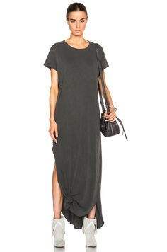 Image 1 of The Great Knotted Tee Dress in Washed Black