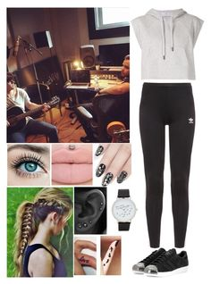 """recording with Niall and Liam"" by katiebarrientos20 ❤ liked on Polyvore featuring Payne, adidas, adidas Originals, ncLA, ALDO and Disney"