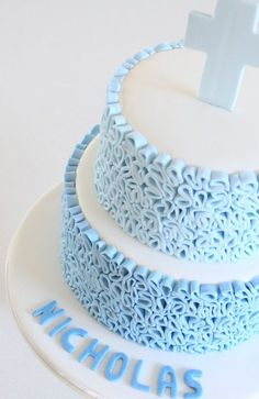 It is also a great honour to be asked to design another cake with my 'squiggle' design in fondant – my fourth cake now using the same technique and I really enjoy the effect. Baby Cakes, Baby Shower Cakes, Fondant Cakes, Cupcake Cakes, Bolos Cake Boss, Comunion Cakes, Cross Cakes, Religious Cakes, Confirmation Cakes