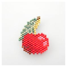Miyuki Delicas Pearls Cherry Diagram by My Little Bazaar Bead Loom Patterns, Peyote Patterns, Weaving Patterns, Embroidery Patterns, Knitting Patterns, Crochet Patterns, Diy African Jewelry, Art Perle, Motifs Perler
