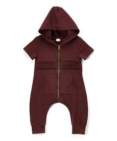 wind + thistle Plum Ribbed Zip-Up Hooded Romper - Infant | zulily