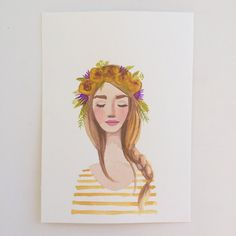 Flower crown girl original watercolor por KristineBrookshire