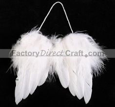 "$2.99 - 4-1/2"" White Feather Angel Wings - miniature wings to glue to gift bags"