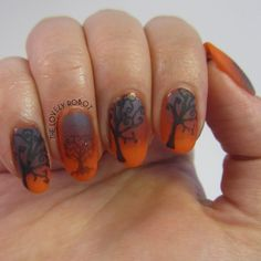 Creepy Tree nails stamped with BundleMonster for 30 Days of Scream Nail Art Challenge