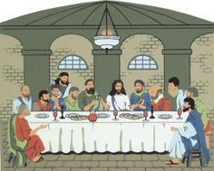 The Last Supper - Matthew 26:20-30   The Cat's Meow Village / Bible Story included on the back