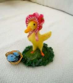 Ducky Lucky delivers her Easter Eggs A Needle Felted Easter Gift by SooSun, $33.00