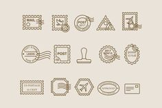 Ad: 15 Postage Stamp Icons by Creative VIP on This beautiful collection contains a huge variety of postage stamps as well as a stamper and addressed envelope. The stamps are different Leeds, Postage Stamp Design, Postage Stamps, Digi Stamps, Business Illustration, Pencil Illustration, Stamp Drawing, Icon Design, Logo Design