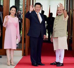 Peng Liyuan, Xi Jinping and Narendra Modi