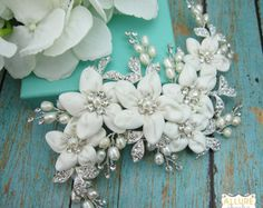 Pearl Wedding Comb Rhinestone Comb Flower by AllureWeddingJewelry