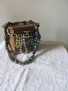 Black Puka Shell Beaded necklace by AnnieTreasureChest on Etsy, $11.99