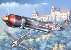 The Lavochkin La-7 (Russian: Лавочкин Ла-7) was a piston-engined Soviet fighter developed during World War II by the Lavochkin Design Bureau (OKB). It was a development and refinement of the Lavochkin La-5, and the last in a family of aircraft that had begun with the LaGG-1 in 1938. Its first flight was in early 1944 and it entered service with the Soviet Air Forces later in the year.