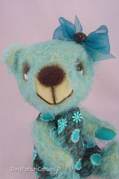 Thea Artist Made Mohair Teddy Bear by Nancy Dontigney of dogpatchcritters on Etsy