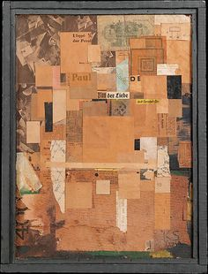 Plan of Love -  Kurt Schwitters, 1919-23. Cut and torn pasted papers, cellophane, tempera, nails, fabric, ink, and graphite, mounted on illustration and fiber boards, with artist-made wood frame. /  A magnifying glass reveals that included is an advertisement for a doctor of venereal diseases: the Plan of Love includes a plan for the cure of love's hazards.