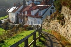 Picturesque cottages in Sandsend near Whitby, North Yorkshire, UK. Stock Photo