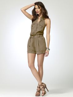 Snap front collared romper with smocked waist. Cuffed leg with tab. Self belt. Hits approximately 5 inches above knee. tencelImportDry clean only Holiday Wardrobe, Fashion Forecasting, Head To Toe, Dress Me Up, Well Dressed, Casual Chic, Spring Summer Fashion, Collars, Rompers