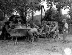 US troops in the field repairs. Normandy 1944