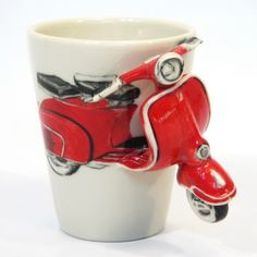 Red Classic Vespa Motorcycle Mug Ceramic Handmade Home Decor 0003
