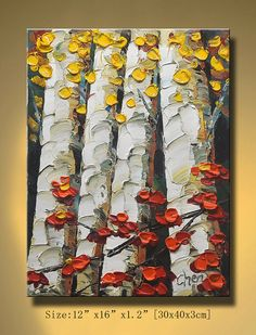 Original Abstract Painting Modern Textured Painting by xiangwuchen, $95.00-I just want to touch the canvas, it looks like you could just grab those flowers.