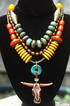 Buddha's Warrior: Tibetan Turquoise Saffron Amber & Bronze Bull Skull Statement Necklace Tribal Jewelry, Turquoise Jewelry, Boho Jewelry, Beaded Jewelry, Fine Jewelry, Jewelry Necklaces, Handmade Jewelry, Jewelry Design, Jewelry Making