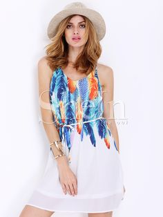 Shop White Spaghetti Strap Feather Print Dress online. SheIn offers White Spaghetti Strap Feather Print Dress & more to fit your fashionable needs.
