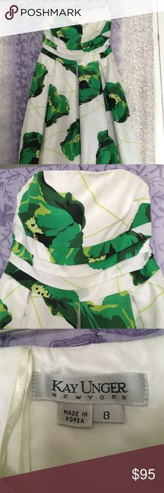 White & green flowered prom dress. Kay Unger Designed white satin strapless dress with green poppy flowers. For a dance, prom or an afternoon tea or wedding! Worn once and in excellent condition. Kay Unger Dresses Strapless