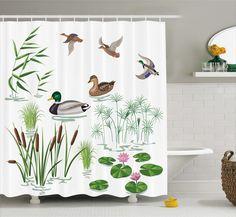Oak Lake Animals Plants Lily Shower Curtain