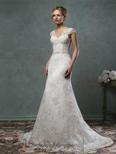 Cap Sleelves V Neckline Lace Embroidery A-line Wedding Dress