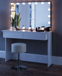 White Large Dressing Table with Mirror and LED Lights Dressing Table With Mirror And Lights, Makeup Table With Mirror, Diy Vanity Mirror With Lights, Dressing Table Design, Dressing Table Mirror, Lighted Mirror, Toddler Floor Bed Frame, White Vanity Table