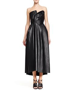Faux-Leather Strapless Dress, Black - Lanvin