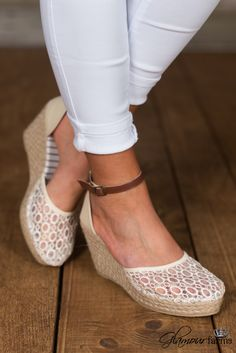 Lina Espadrille Wedge is adorable with the crocheted mesh fabric over the  closed toe and the