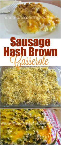 Sausage Hash Brown Breakfast Casserole recipe from The Country Cook. Cheesy deliciousness. The best!