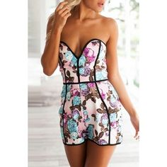 Stylish Floral Bandeau Zip Romper (57 BRL) ❤ liked on Polyvore featuring jumpsuits, rompers, white, strapless floral romper, print romper, floral romper, floral print romper and white strapless romper