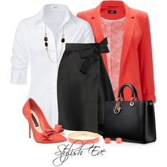 A fashion look from August 2014 featuring Steffen Schraut blouses, Wallis blazers and Lanvin skirts. Browse and shop related looks.