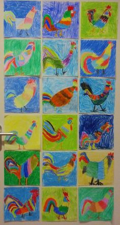 teacher appreciation ideas for first grade art projects Spring Art Projects, Easy Art Projects, Winter Crafts For Kids, Art For Kids, Doodle Drawing, First Grade Art, Oil Pastel Drawings, Chickens And Roosters, Crafty Kids