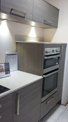 STUDIO Monaco Horizon Avola Grey Kitchen with Quartz Worktops and Beko Appliances in our Torquay Showroom in Devon