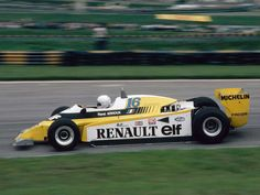 Rene Arnoux, twin turbocharged #Renault RS10, #F1 #Interlagos 1980