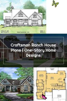 Craftsman Ranch House Plans | One-Story Home Designs<br> House Plans One Story, One Story Homes, Ranch House Plans, Craftsman House Plans, Craftsman Ranch, Covered Decks, Double Garage, First Story, Front Elevation