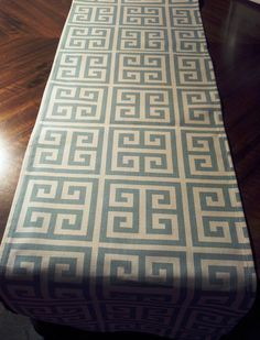 MODERN TABLE RUNNER, Trendy For Weddings,Showers,Home Decor,Holidays,Parties,11 x 72, Spa Blue and Natural Print. $18.00, via Etsy.