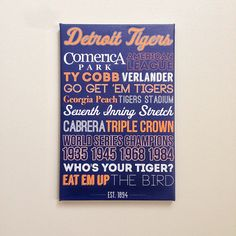 Detroit Tigers Canvas Art Graphic Design Typography Gift Source by yayaleslie Typography Art, Graphic Design Typography, Detroit Tigers, Detroit Sports, Tiger Poster, Tiger Art, Great Father's Day Gifts, Diy Signs, Fathers Day Gifts