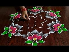 Rangoli Side Designs, Rangoli Designs Latest, Simple Rangoli Designs Images, Free Hand Rangoli Design, Small Rangoli Design, Rangoli Designs With Dots, Beautiful Rangoli Designs, Simple Rangoli With Dots, Simple Flower Rangoli