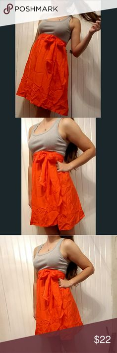 """'One September' summer dress Light and flowy summer dress with tank-like top and soft skirt. All one piece with belt to bisect the garment.  I'm 5'9"""" and this comes about mid-thigh. (A little wrinkly, I know oops!) Light gray top and fiery (red-ish) orange skirt. Overall, a very comfortable piece to wear. one.september  Dresses Midi"""