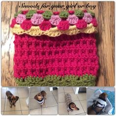 Cute snoods for your  dachshunds or any pooch...made to order by Buttercup Crochet Designs #dachshunds #doxies #buttercupcrochetdesigns #crochet